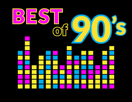 90s: Best of 90s illistration with colourful equalizer on black background