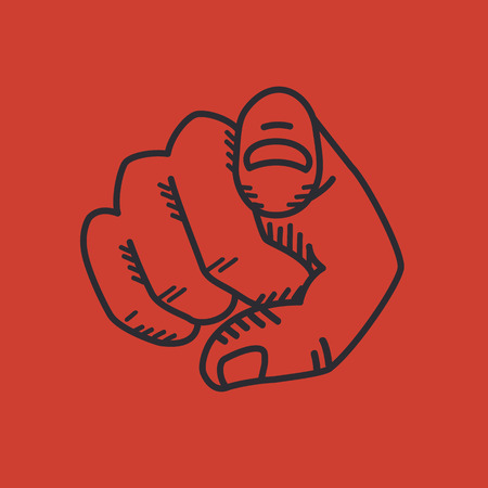 need direction: Retro human hand with the finger pointing or gesturing towards you. Isolated on red background Illustration