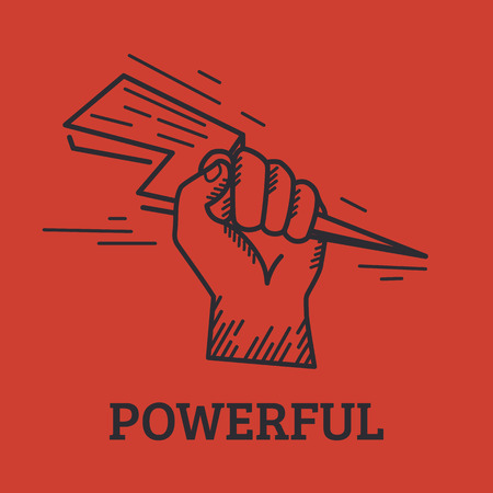 lightening: Retro illustration of human hand holding lightening bolt isolated on red background Vectores