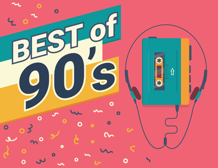 Best of 90s retro illistration of stereo compact cassette player on red background