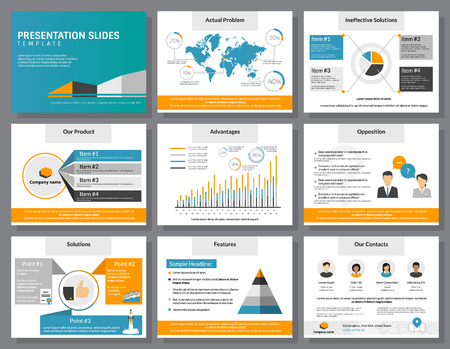Business infographics presentation slides template with flat illustrations of people, consulting, diagrams and chart