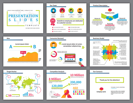 Business  bright and colourful infographics presentation slides template with flat illustrations of handshake, competition, laptop, diagrams and chart Illustration