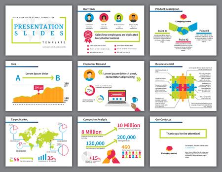 Zakelijke heldere en kleurrijke infographics presentatie slides sjabloon met platte illustraties van handdruk, de concurrentie, laptop, tekeningen en grafiek Stock Illustratie