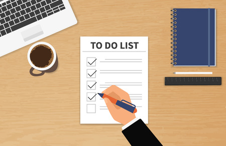 list: Businessman sitting at his desktop and fulfilling his work checklist Illustration