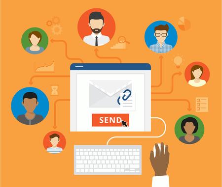 correo electronico: El email marketing y corporativa boletín concepto. Hombre de negocios que envía una carta a sus colegas de negocios Vectores