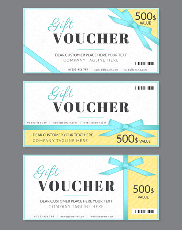 Templates collection of three gift vouchers with blue silk ribbon and a bow. Designed for gift coupon, invitation, certificate. Text outlined free font Lato