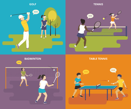 tables: Flat sport icons set of boy plays golf, young women are playing tennis and badminton, two guys take part in a table tennis competition