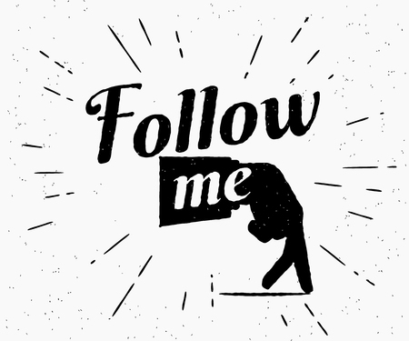 retro icon: Follow me illustration for social networks. Vintage graphic design of human hand gesture with old-fashioned lettering