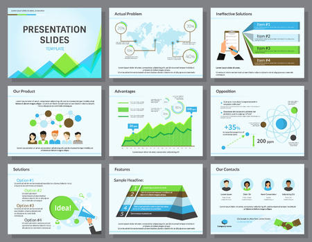 present presentation: Business infographics presentation slides template with flat illustrations of people, consulting, diagrams and chart