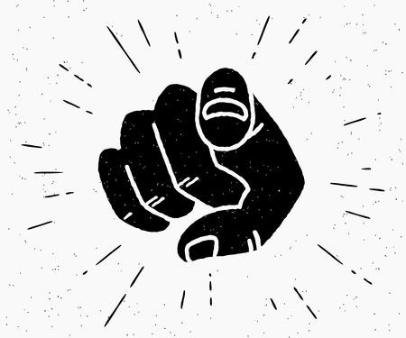 Retro mano humana con el dedo apuntando o gesticulando hacia usted. Ilustración de hipster vintage aislado sobre fondo blanco.
