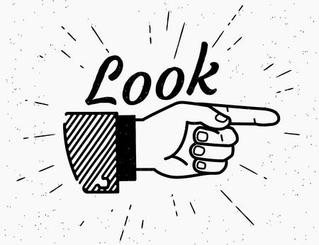 Vendimia mano humana dibujando con el dedo apuntando en estilo retro con letras vistazo aquí aislado en fondo blanco