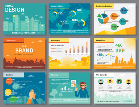 Urban design of infographics presentation slides template with flat illustrations of city buildings, world map, diagrams and circle percentage chart Ilustrace