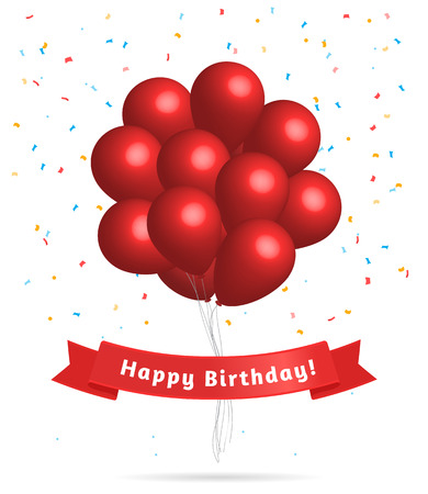 ballon: Realistic red balloons with greeting happy birthday phrase on the red silk ribbon isolated white banner. Birthday background. Illustration