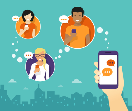 La mano del hombre mantenga un smartphone y el envío de mensajes a los amigos a través de aplicaciones de mensajería. Ilustración plana