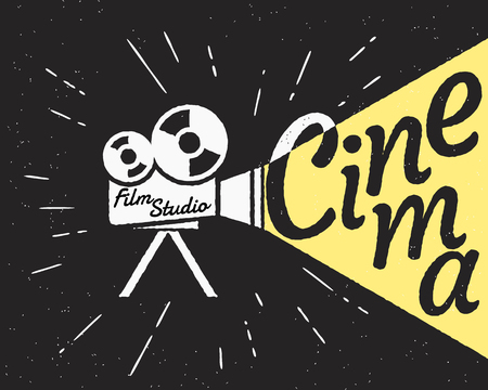 video reel: Movie projector with yellow light and cinema letters. Retro stylized illustration on black background with grunge texture