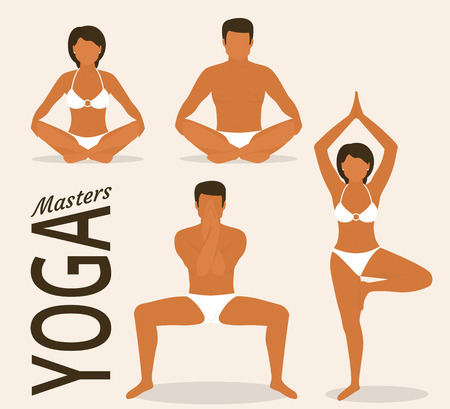 Flat illustration of calm tanned woman and man are doing yoga. They are sitting in the lotus position, and standing in static pose. Isolated on white background