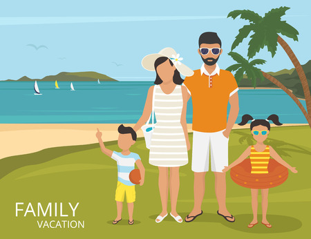 father and child: Happy family on vacations illustration flat design. Parents with kids are on the tropical beach near blue sea and two palm trees behind them