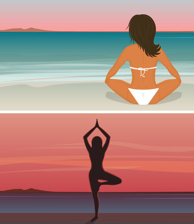 standing on one leg: Two illustrations of tanned woman is doing yoga on the sunset beach sitting in lotus position and standing on one leg with hands up