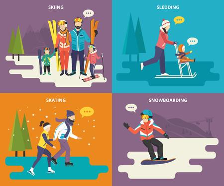 Gezin met kinderen begrip vlakke pictogrammen set van wintersport zoals skiën, schaatsen, sleeën en snowboarden