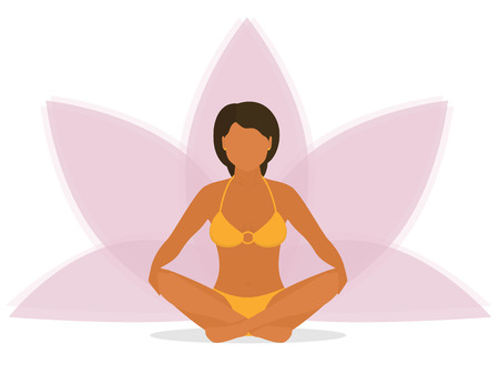 lotus position: Flat illustration of calm tanned woman is doing yoga and sitting in the lotus position with pink petals of a lotus flower behind. Isolated on white background
