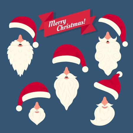 nariz roja: Navidad colecci�n de ropa de diferentes Santas sombreros con la nariz y barbas blancas divertidas. Elementos de la Navidad en el estilo de piso en la m�scara de la celebraci�n en la cara