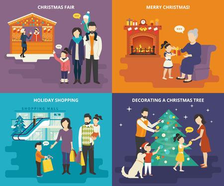 Familie mit Kinder Menschen Konzept flachen Icons Set Besuch Weihnachtsmarkt, Weihnachtseinkäufe mit Kindern, die Dekoration eines Weihnachtsbaums mit den Eltern und geben ein Geschenk an schöne Großmutter zu Hause Illustration