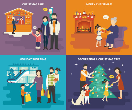 family shopping: Family with kids people concept flat icons set of visiting christmas fair, holiday shopping with children, decorating a christmas tree with parents and giving a gift to lovely grandmother at home
