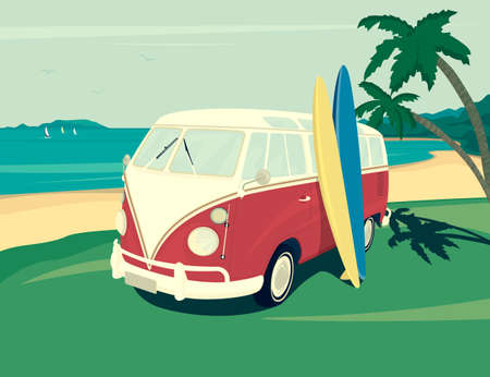 modern retro: Retro illustration of surfer red bus with two surfboards on the tropical beach. Two palm trees and blue ocean behind. Flat modern design Illustration