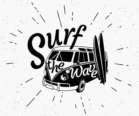 surfer: Retro grunge black and white illustration of surfer bus with two surfboards and surf the wave text on the car. Hipster label isolated on white background.