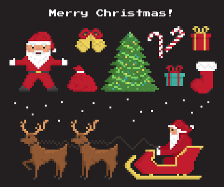 Pixel christmas symbols set of Santa Claus, christmas tree, red sock with gifts and sweets, two 8-bit reindeers with Santas sleigh Illustration