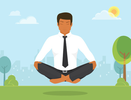 Flat illustration of calm tanned woman is doing yoga and meditation in the lotus position in the park. Иллюстрация