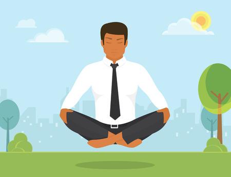 cuerpo hombre: Ilustraci�n plano de mujer curtida en calma est� haciendo yoga y la meditaci�n en posici�n de loto en el parque.