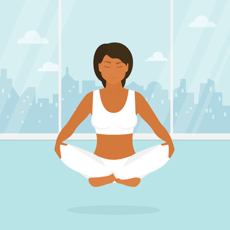 lotus position: Flat illustration of calm tanned woman is doing yoga and meditation in the lotus position in the yoga studio. Illustration