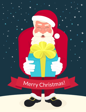 merry chrismas: Smiling Santa Claus wearing red hat and glasses holds a gift in his hands and ribbon with merry chrismas text below. Greeting card or flyer template design