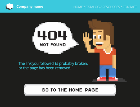yong: 404 error page is not found illustration of yong pixel 8-bit boy with speech bubble and long pixel button on black background