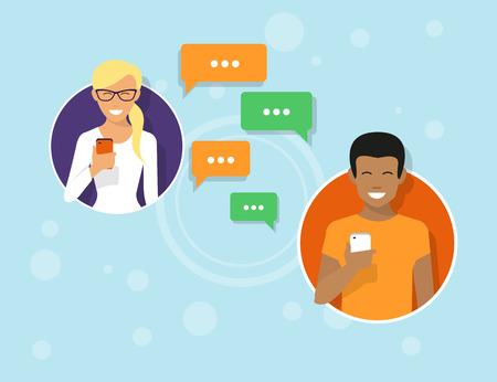 hablando por telefono: Dos amigos en los iconos de círculo están enviando mensajes a través de aplicaciones de mensajería. Ilustración plano de la comunicación de personas con burbujas de sms Vectores