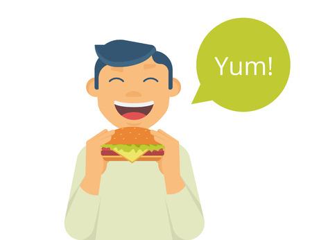 personas felices: Muchacho feliz que come una hamburguesa grande. Aislado en blanco con la burbuja verde y el texto yum