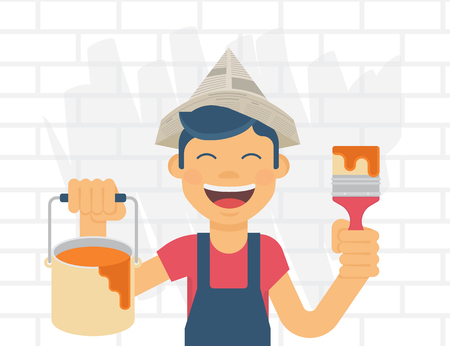 young boy smiling: Flat illustration of smiling young boy holds in his hands a bucket of paint and brush and going to paint the wall behind Illustration