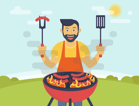 BBQ party. Flat illustration of smiling guy is cooking sausages barbecue outdoors. Funny hipster wearing beard is cooking bbq for his friends Vettoriali