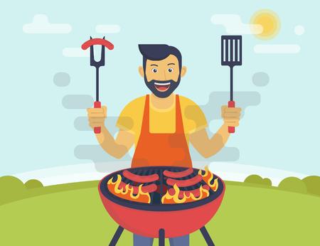 Grill stroną. Płaski ilustracją uśmiechnięty facet gotowania kiełbasy z grilla na świeżym powietrzu. Funny hipster noszenie brody jest gotowanie grill do swoich przyjaciół