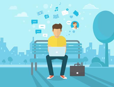젊은 남자가 거리에 앉아 노트북을 작동합니다. 친구에게 소셜 네트워킹 및 문자 메시지의 플랫 현대적인 그림