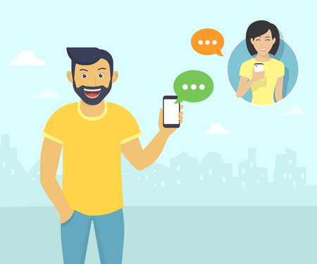 sms: Happy guy wearing beard is sending messages via messenger app to young girl. Flat illustration of people communication with sms bubbles