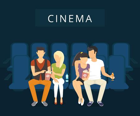 Mensen kijken films in de bioscoop. Flat moderne illlustration van twee man met vriendinnen kijken naar een film zitten op de blauwe stoelen