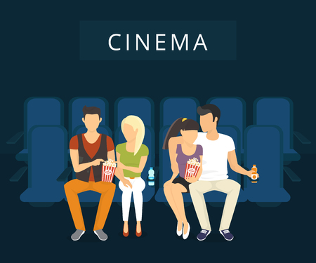 movie screen: People are watching film in the cinema. Flat modern illlustration of two guy with girlfriends are watching a movie sitting on the blue seats