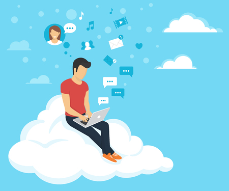 Young man sitting on the cloud in the sky and working with laptop. Flat modern illustration of social networking and texting to friends