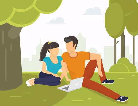 flirting: Couple relaxing and flirting in the park under green tree with laptop. Flat modern illustration of students using laptop Illustration