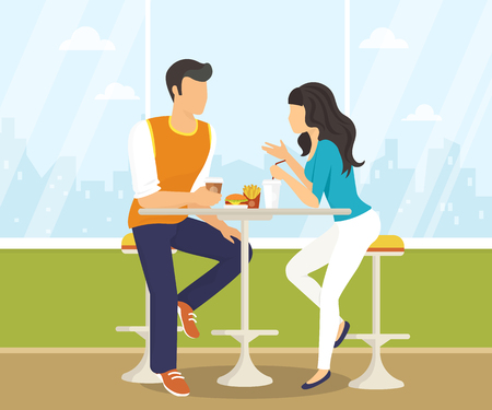 Couple sitting in the cafe, flirting and talking about something. Flat modern illustration of students using laptop Çizim