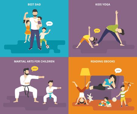 mamma figlio: Famiglia con le icone bambini gente concetto piatte set di migliore pap�, mamma facendo yoga con il bambino, padre con il figlio facendo esercizio di arti marziali e stanco baby sitter ebook lettura sul divano con i bambini giocosi