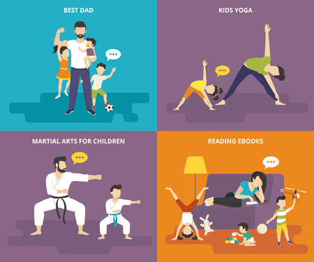 stretching exercise: Family with children people concept flat icons set of best dad, mom doing yoga with kid, father with son doing martial arts exercise and tired babysitter reading ebook on the sofa with playful kids