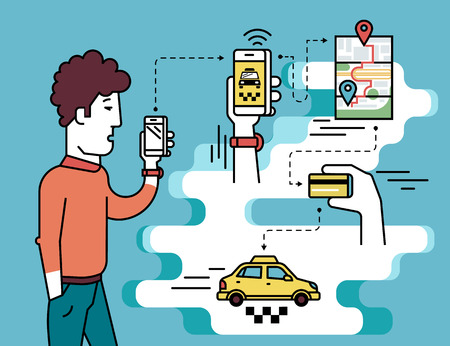 taxi: Infographic flat illustration of mobile app for booking taxi. Contour man holds in his hand white smartphone and going to order taxi cab.